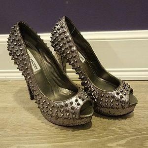 Steve Madden Silver Studded Heels - Size 7.5